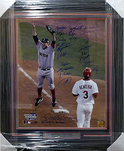 2004 Boston Red Sox Autographed Framed 20x24 Photo With 22 Signatures Including David Ortiz & Curt Schilling Beckett BAS #A76438