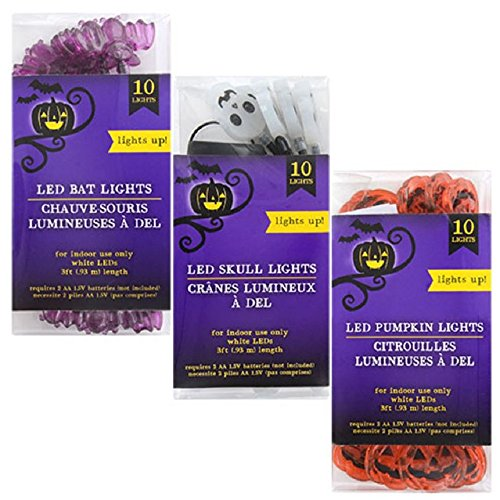 3-pack Halloween Assorted LED Lights 10 Count Toddlers Kids Jack O Lantern Scary Spooky Creepy Turkey Harvest Halloween Party Indoor Outdoor Decoration Decorations Decor Pumpkin (3-Pack Multicolor) (Printable 3d Halloween Decorations)