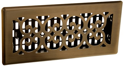 Decor Grates SPH410-A 4-Inch by 10-Inch Scroll Floor Register, Antique Brass - Decorative Floor