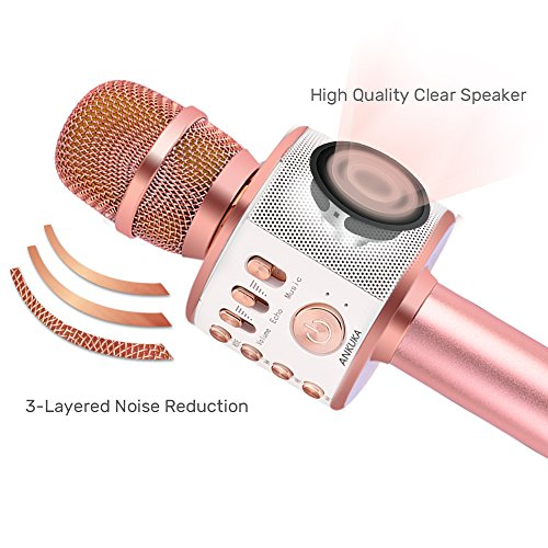 Ankuka Bluetooth Karaoke Microphone, Handheld Wireless Singing Karaoke Machine Speaker, Portable Mic Player for…