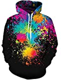Mens Pullover Hoodie Unisex 3D Colorful Paint Tie Dye Hooded Crewneck Sweatshirt for Women with Kangaroo Pocket Drawstring Rainbow Tops Long Sleeve Black Spring Clothes S
