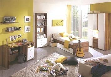 Komplettes Jugendzimmerkinderzimmer Tina Walnussweiss 3 Türig