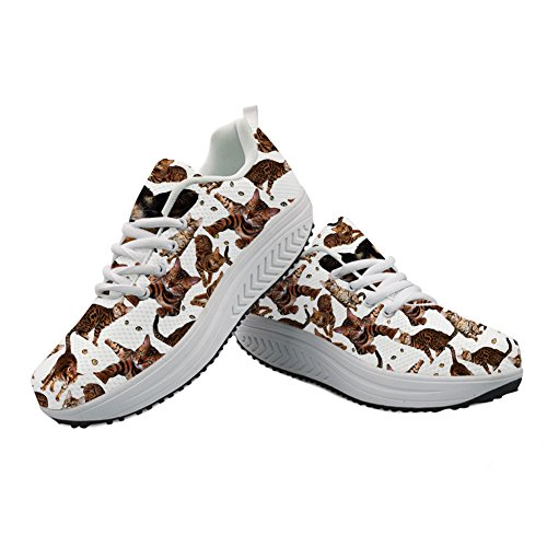 Women's Platform Cute Printed Sneaker Casual Funny Cat Girls Cat Wedges Walking Ladies 9 rrZUa