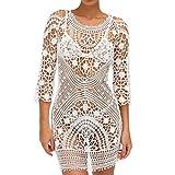 Sexy Beach Cover up Crochet Swimwear Dress Ladies Bathing Suits Bikini Cover up Beachwear Women 1 Piece (White)