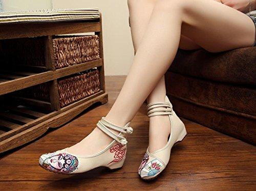 &QQ Ópera de Pekín Zapatos bordados, lenguado de tendón, estilo étnico, hembrashoes, moda, cómodos zapatos de lona beige
