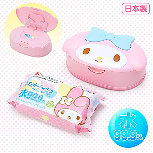 Sanrio My Melody face-shaped case containing wet tissue From Japan New