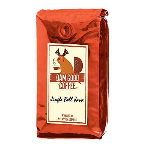 Dam Good Coffee - Jingle Bell Java - Christmas Stocking Stuffer - A Sleigh Ride of Caramel, Rum, and Pecan with a Dash of Cinnamon and Vanilla - Whole Bean - Rich Body - 12 Oz (The Best Damn Coffee)