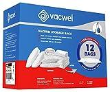 vacwel Jumbo X Large Vacuum Pack Storage Bags to Ziplock & Space Save Bedding, Blankets or Bulk Cloth Fabrics. 8X Jumbo 43 x 30 Size + 4X Large 32 x 21.5 Size. 12 Bags Included