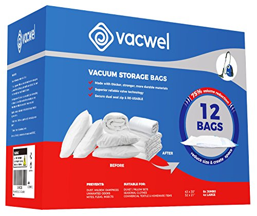 vacwel Jumbo X Large Vacuum Pack Storage Bags to Ziplock & Space Save Bedding, Blankets or Bulk Cloth Fabrics. 8X Jumbo 43 x 30 Size + 4X Large 32 x 21.5 Size. 12 Bags Included by vacwel