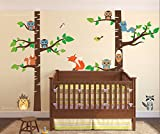Birch Tree Wall Decal Forest with Owl Birds Squirrels Fox Porcupine Racoon Vinyl Sticker Woodland Children Decor Removable #1327 (96'' (8ft) Tall, Brown Trees)