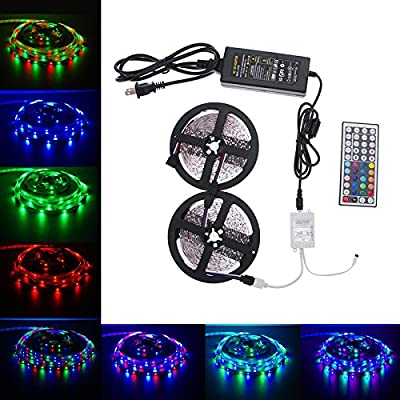 LED Strip Lights Kit, Paymenow 10M RGB 3528 SMD 600LED Waterproof Flexible Light Strip Lamp String lights with 44Key IR Remote Controller and 12V 5A Power Supply for Home, Christmas Party Decoration