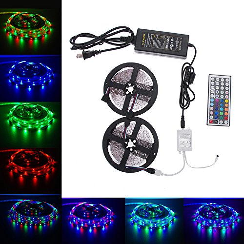 LED Strip Lights Kit, Paymenow 10M RGB 3528 SMD 600LED Waterproof Flexible Light Strip Lamp String lights with 44Key IR Remote Controller and 12V 5A Power Supply for Home, Christmas Party Decoration - Light Side Mount Fluorescent Strip