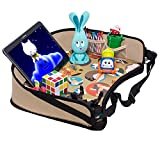 DMoose Toddler Car Seat Travel Tray (16'' x 14'') – Toy Organizer, Tablet Holder, Reinforced Surface, Sturdy Base & Side Walls, Strong Buckles, Crayon Organizer, Mesh Pockets – Waterproof