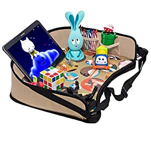 """DMoose Toddler Car Seat Travel Tray (16"""" x 14"""") – Toy Organizer, Tablet Holder, Reinforced Surface, Sturdy Base & Side Walls, Strong Buckles, Crayon Organizer, Mesh Pockets – Waterproof"""