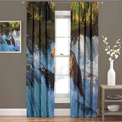 GUUVOR Waterfall Premium Blackout Curtains Image of Large Bear by a Rock in Alaska Waterfall Wildlife in Earth Art Print Kindergarten Noise Reduction Curtains W63 x L84 Inch Multicolor