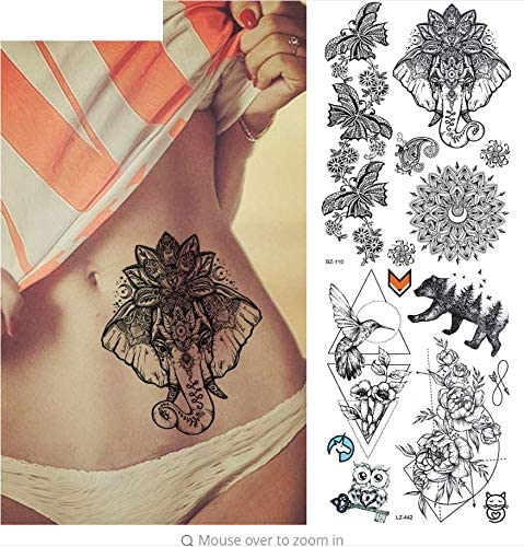 ruofengpuzi Adesivo tatuaggioSexy Cinturón Falso Ganesha Negro ...