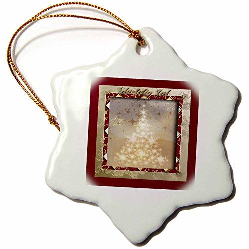 3dRose Beverly Turner Christmas Other Languages - Glædelig Jul, Merry Christmas in Danish, Tree of Lights - 3 inch Snowflake Porcelain Ornament (orn_37010_1)