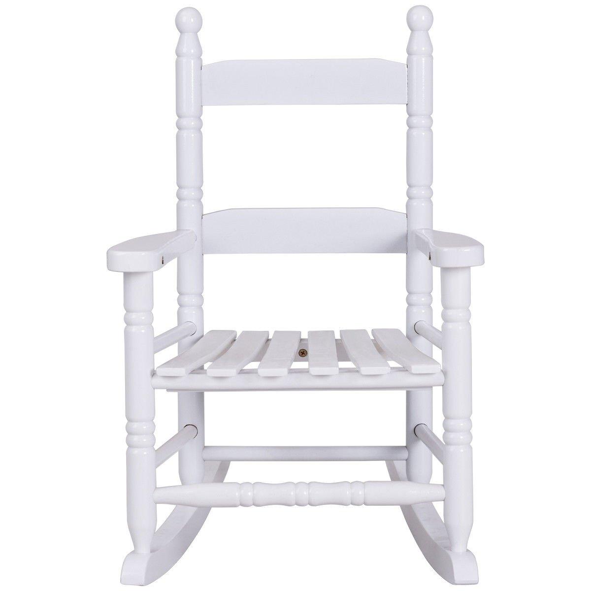 Classic White Wooden Children Kids Rocking Chair Slat Back Furniture Bedroom