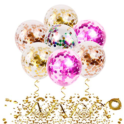Romantic New Year Champagne - Confetti Balloons 20 Pieces Gold Curling Ribbon & Spraying Water Tool | 12 Inch Latex Party Balloons - Filled Gold Pink Champagne Mylar Confetti Dot For Wedding Birthday Anniversary New Year Decorations