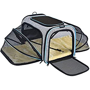 OMORC Pet Carrier Airline Approved, Expandable Foldable Soft-Sided Dog Carrier, 3 Open Doors, 2 Reflective Tapes, Pet…