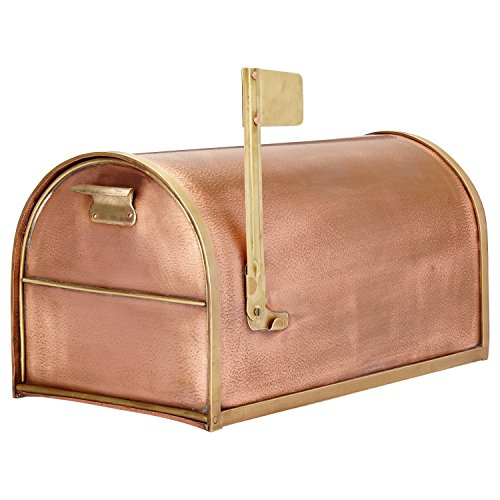 (Naiture Classic Post Mount Standard Copper Mailbox with Brass)