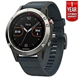 Garmin Fenix 5 Multisport 47mm GPS Watch – Silver with Granite Blue Band (010-01688-01) + 1 Year Extended Warranty