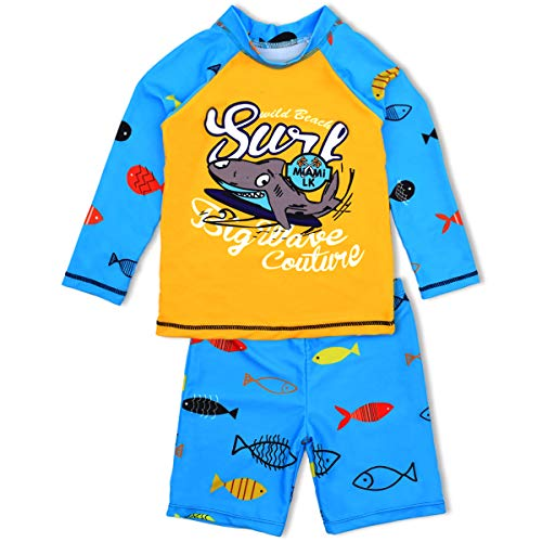 (Boys Two Piece Rash Guard Swimsuits Kids Long Sleeve Sunsuit Swimwear Sets 9T)