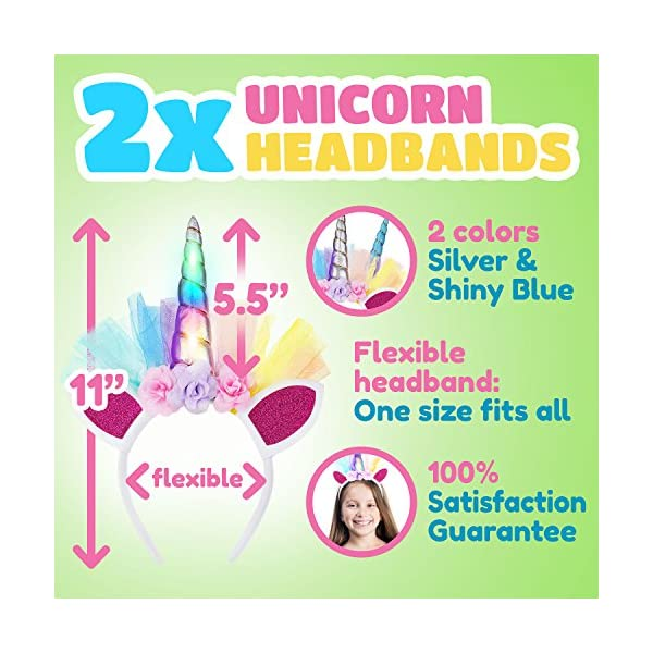 LED Unicorn Headband 2 Piece Set for Toddlers, Children, Teens, And Adults For Party. Decorative Floral Headpiece Long Lasting Flashing Lights. Glow In The Dark With On/Off Switch. 6