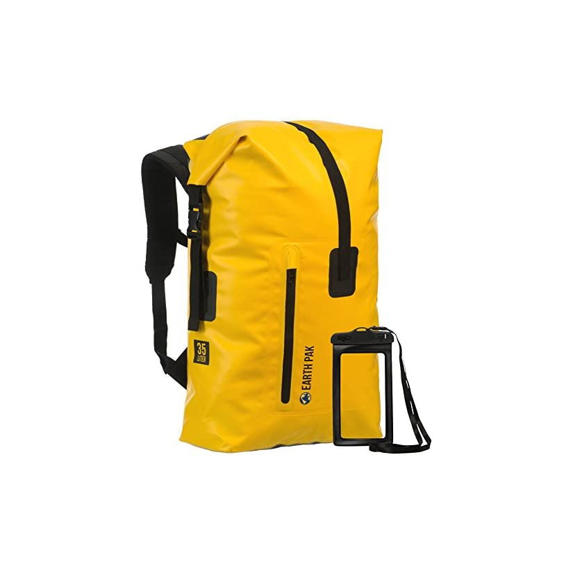 e55b0a858b0b Earth Pak Waterproof Backpack  35L   55L Heavy Duty Roll-Top Closure with  Easy Access Front-Zippered ...