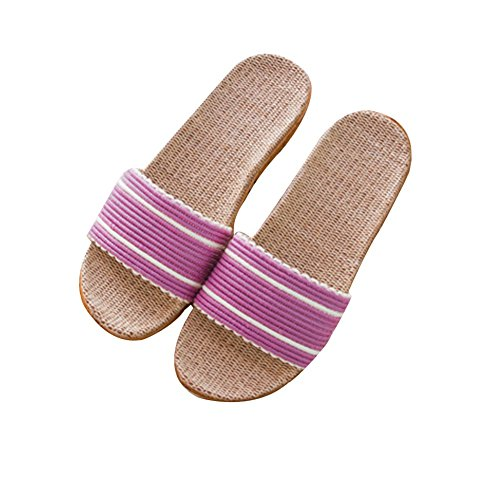 TELLW kid men and women Linen Slippers Home couples indoor slippers wood flooring home non-slip thick summer cool slippers Purple 0nxUNrFr