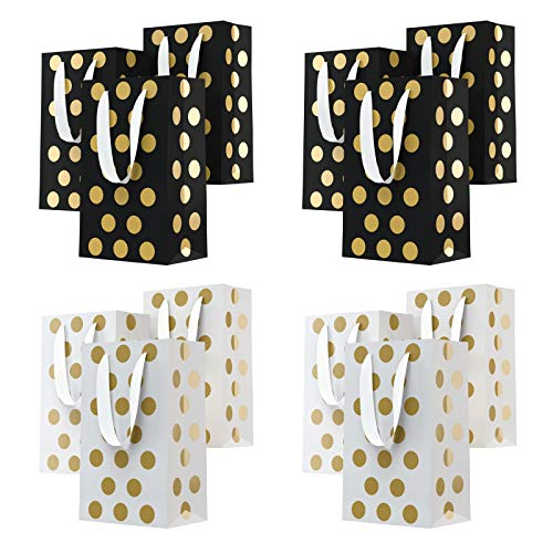 (Eco Works Inc. 12 Birthday Gift Bags - Party Gift Bags Assorted Colors with Handles - Polka Dot Gift Bags in Bulk 230g Bags with Metal Eyelets and Cardboard Padding on Bottom. (2 Colors))