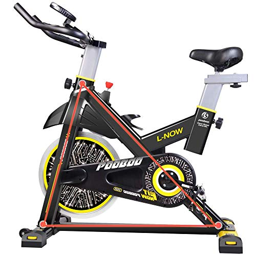 pooboo Indoor Cycling Bicycle, Belt Drive Indoor Exercise Bike,Stationary Exercise LCD Display Bicycle Heart Pulse Trainer Bike Bottle Holder by pooboo (Image #3)