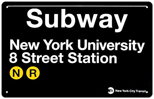 Subway New York University- 8 Street Station Tin Sign 17 x (Subway Sign)