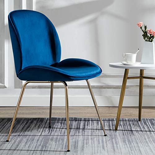 Art Leon Velvet Blue Shell Chair Soft Upholstered Modern Beetle Accent Chair with Champagne Color Legs for Living Room Bedroom Reception Room Vanity Elegant Design ()