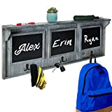 "XL 32"" Entryway Chalkboard with Hooks for Coats, Key Holder, etc. - Distressed Rustic Gray Wood Framed Hanging Chalk Board Organizer Wall Decor - 3"" Display Shelf"