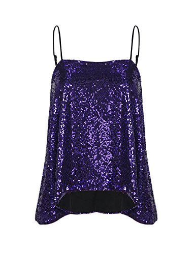 fac6bb5570a0aa Vero Viva Women s Sparkly Sequin Tank Tops Spaghetti Strap Shimmer Fit Club  Vest