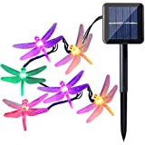 Icicle Dragonfly Solar String Lights, 16ft 20 LED 8 Modes Waterproof Fairy Lighting for Indoor/Outdoor, Garden...
