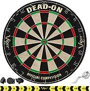 Viper Dead-On Tournament Bristle Steel Tip Dartboard Set with Staple-Free Bullseye, Galvanized Metal Triangula