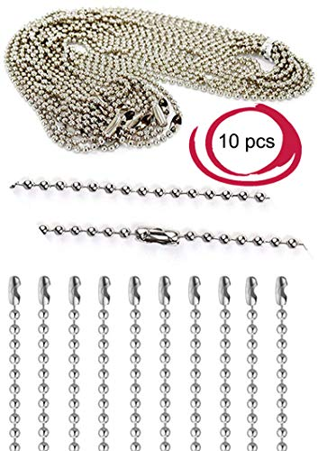 Iron Silver Plated Ball Chain Necklace Bulk for Jewelry Making Ceiling Fan Pull 16 Inches Long 2mm Bead Size Adjustable Antique Metal Bead Chain Matching Connector Jewelry Findings 10pcs Dog Tag Style Fan Tags