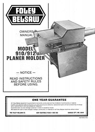 BELSAW 9103 Planer Molder Operator's & Parts Manua