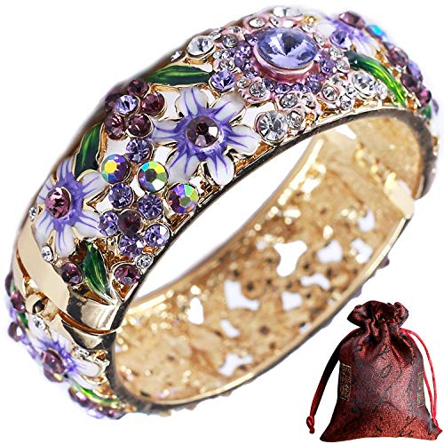 - Pavaruni Traditional Gorgeous Chinese Cloisonne Bracelets, Rose Flower Retro Vintage Cultural Designed Enameled Jewelry, Cloisonné (Palace Purple(Bracelet))