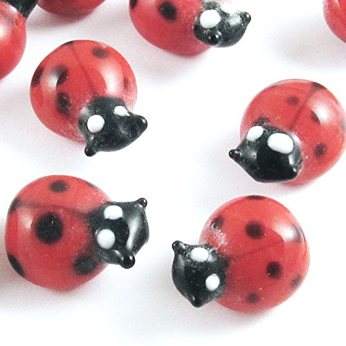 Ladybug Glass Lampwork Beads-RED AND BLACK 11x15mm (10 Pieces)