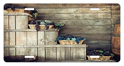 Vineyard License Plate by Ambesonne, Various Grapes in Wooden Wicker Basket Ivy Viniculture Gourmet Organic Photo, High Gloss Aluminum Novelty Plate, 5.88 L X 11.88 W Inches, Brown Purple