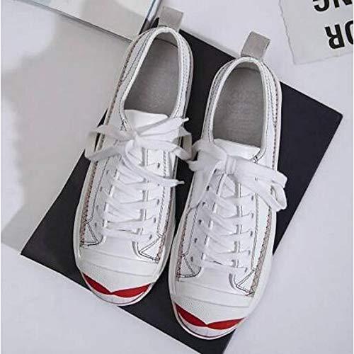 donna ZHZNVX Black da piatto Sneakers Scarpe Bianco Punta chiusa di Comfort Primavera pelle Nero Camoscio Estate pecora Tacco TwrEqw