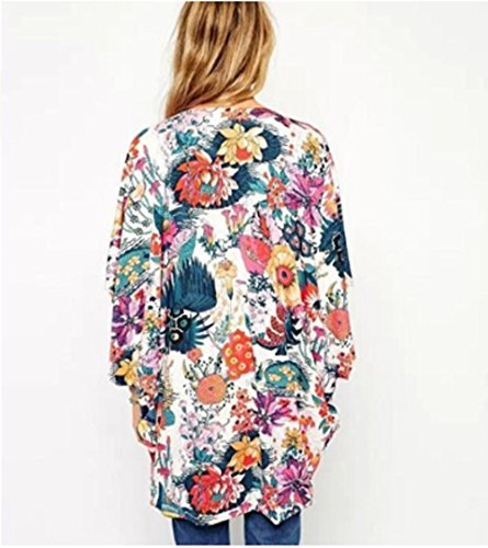 Relipop Women's Sheer Chiffon Blouse Loose Tops Kimono Floral Print Cardigan (XX-Large, Colorful) by Relipop (Image #2)