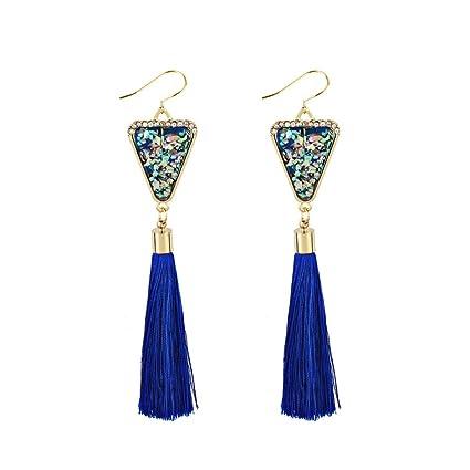 nueva colección 50083 cce85 Aretes para Mujer Pequeño, 💖 Zolimx Pendientes de Estilo Nacional Retro  Largo Aretes de Moda de Personalidad (Cielo Azul)