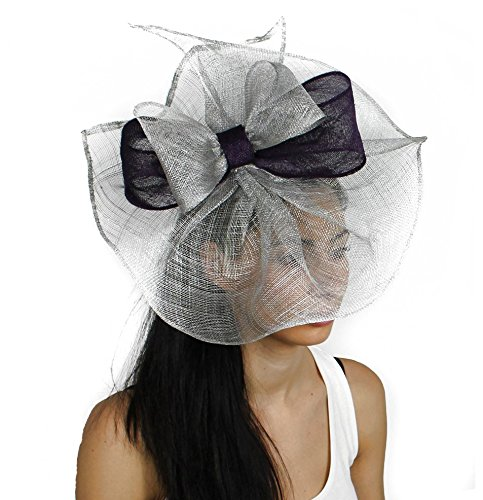 Hats By Cressida 12 Inch Commodore Sinamay Ascot Fascinator Hat Women's With Headband - Black/Silver