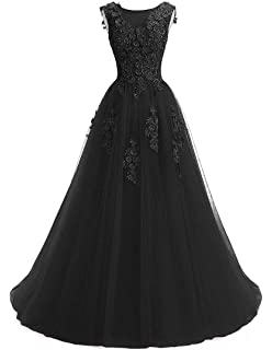 6cccb602c390 Ever Girl Women's Sweep Lace Appliques Scoop Collar Tulle A-Line Prom  Dresses