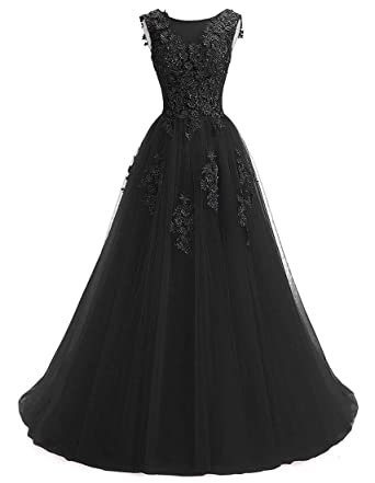 8821c592974 Ever Girl Women s Sweep Lace Appliques Scoop Collar Tulle A-Line Prom  Dresses Black US2