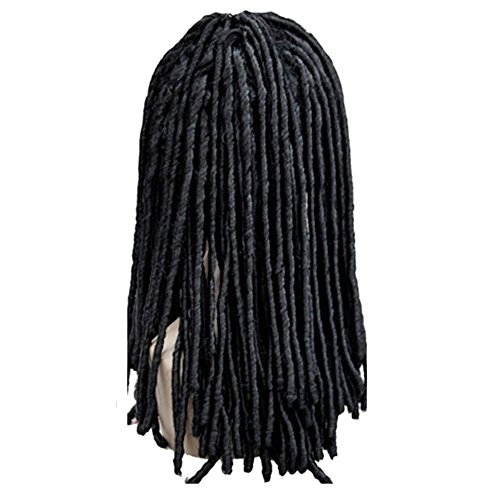DAYISS Dreadlocks African Fashion Long Wavy Curly Single Piece Non-mainstream Wig (Black) (Brown Dreadlock Wig)